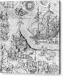 Queen Elizabeth I On Board A Ship Acrylic Print by English School