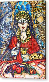 Acrylic Print featuring the painting Queen Esther by Rae Chichilnitsky