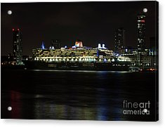 Queen Mary 2 At Night In Liverpool Acrylic Print