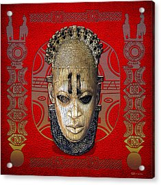 Queen Mother Idia - Ivory Hip Pendant Mask - Nigeria - Edo Peoples - Court Of Benin On Red Leather Acrylic Print by Serge Averbukh
