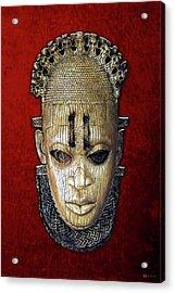 Queen Mother Idia - Ivory Hip Pendant Mask - Nigeria - Edo Peoples - Court Of Benin On Red Velvet Acrylic Print