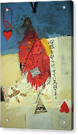 Acrylic Print featuring the mixed media Queen Of Hearts 40-52 by Cliff Spohn