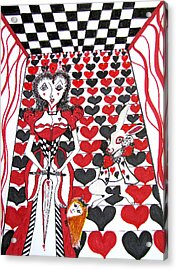 Acrylic Print featuring the drawing Queen Of Hearts by Barbara Giordano