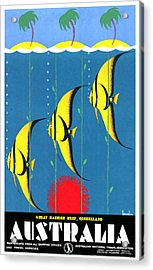 Queensland Great Barrier Reef - Restored Vintage Poster Acrylic Print