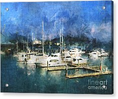 Queensland Marina Acrylic Print by Claire Bull