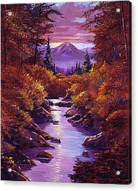 Quiet Autumn Stream Acrylic Print by David Lloyd Glover
