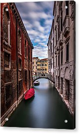 Quiet Canal In Venice Acrylic Print by Andrew Soundarajan