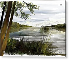 Acrylic Print featuring the painting Quiet Day By Lake by Ivana Westin