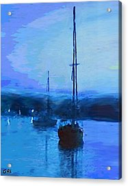 Acrylic Print featuring the painting Quiet Evening Maryland Chesapeake Bay Detail Multimedia Fine Art Painting by G Linsenmayer