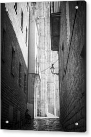Quiet Moment Near Barcelona Cathedral, B/w Acrylic Print by Valerie Reeves