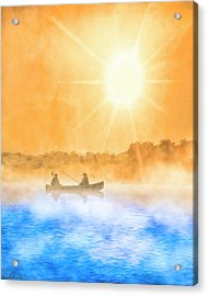 Acrylic Print featuring the painting Quiet Moments - Fishing At Dawn by Mark Tisdale