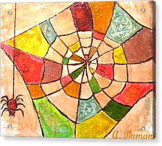 Acrylic Print featuring the painting Quilted Web by Angelique Bowman