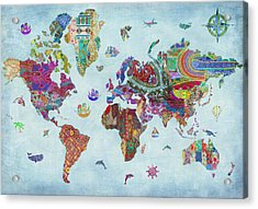Quilted World Map Acrylic Print by Aimee Stewart