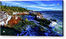 Quoddy Coast With Snow Acrylic Print by ABeautifulSky Photography