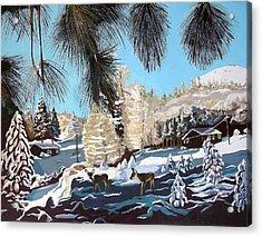 R-ranch In The Winter Acrylic Print by Olga Kaczmar