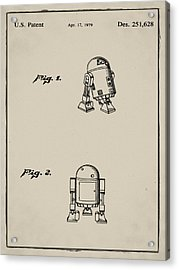 R2d2 Patent 1979 In Sepia Acrylic Print