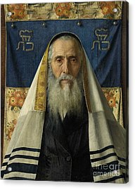 Rabbi With Prayer Shawl Acrylic Print by MotionAge Designs