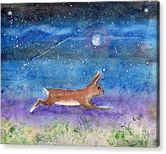 Acrylic Print featuring the painting Rabbit Crossing The Galaxy by Doris Blessington