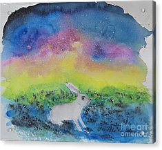 Acrylic Print featuring the painting Rabbit In Galaxy 5 by Doris Blessington