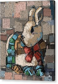 Acrylic Print featuring the painting Rabbit Socks by Carrie Joy Byrnes