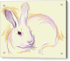 Acrylic Print featuring the pastel Rabbit With A Red Eye by MM Anderson