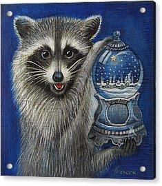 Raccoon - Christmas Star Acrylic Print by Temenuga Ivanova