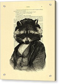 Raccoon Portrait, Animals In Clothes Acrylic Print by Madame Memento