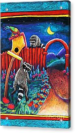 Raccoon Trouble Acrylic Print by Harriet Peck Taylor