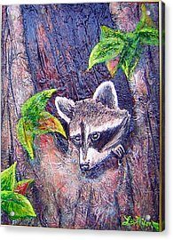 Acrylic Print featuring the painting Raccoon's Sleepy Hollow by Lee Nixon
