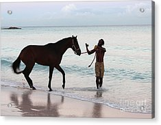Race Horse And Groom 2 Acrylic Print by Barbara Marcus