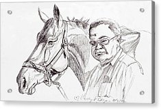 Race Horse And Owner Acrylic Print by Nancy Degan