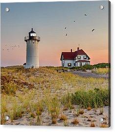 Race Point Light Cape Cod Square Acrylic Print