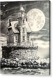 Race Rock Light House Acrylic Print by Michael Lee Summers