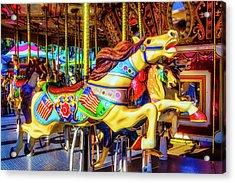 Racing Carrousel Horse Acrylic Print