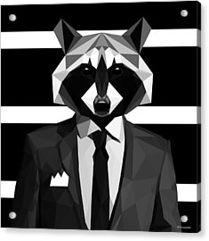 Racoon Acrylic Print by Gallini Design