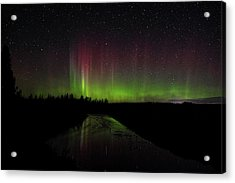 Red And Green Aurora Pillars Acrylic Print