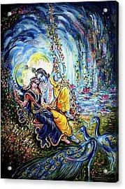 Radha Krishna Jhoola Leela Acrylic Print by Harsh Malik
