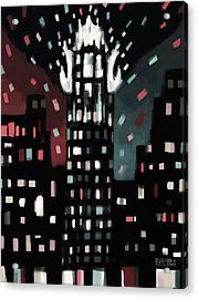 Radiator Building Night Acrylic Print by Beverly Brown