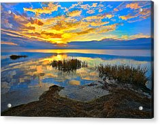 Radical Sunset Over Pamlico Sound Outer Banks Acrylic Print by Dan Carmichael