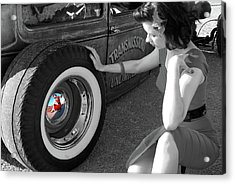 Radillac Pinup Reflection In Black And White Acrylic Print by Paul Wash