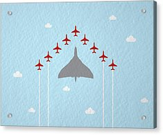 Raf Red Arrows In Formation With Vulcan Bomber Acrylic Print