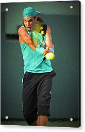 Acrylic Print featuring the painting Rafael Nadal by Lou Novick