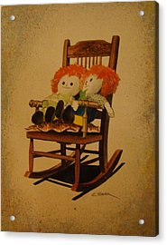 Raggedy Ann And Raggedy Andy Take A Break Acrylic Print by Charles Roy Smith