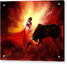 Raging Bull Acrylic Print by Kiran Kumar
