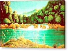 Rai Valley Falls Si Nz Acrylic Print by Barbara Stirrup