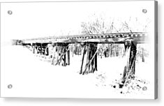Rail Road Bridge In Winter 1 Acrylic Print