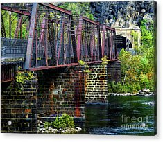 Rail Road Bridge Over The Potomac River At Harpers Ferry, Wv Acrylic Print