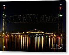 Railroad And Bourne Bridge At Night Cape Cod Acrylic Print by Matt Suess