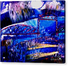 Railroad Brdige  Acrylic Print by Angelina Marino