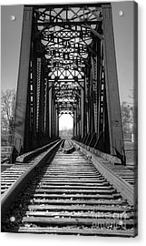 Railroad Bridge Black And White Acrylic Print